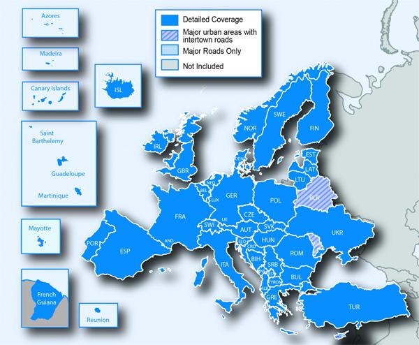 Couverture Europe complète