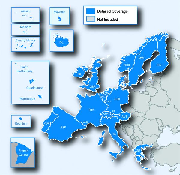 Couverture cartographique Ouest Europe
