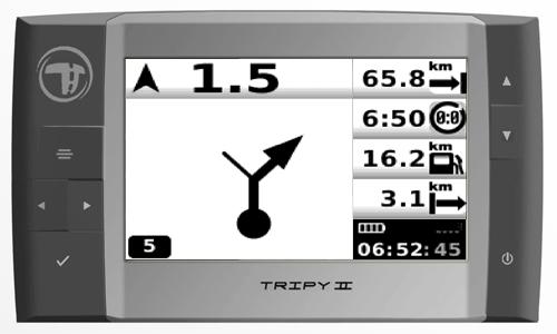 Tableau de bord du Tripy II en mode navigation